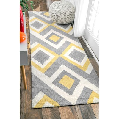Stoltenberg Hand-Hooked Gray/Yellow Area Rug Rug Size: Runner 26 x 8