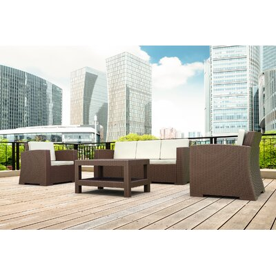 Vedder 4 Piece Resin Patio Sofa Seating Group with Cushion Finish: Brown
