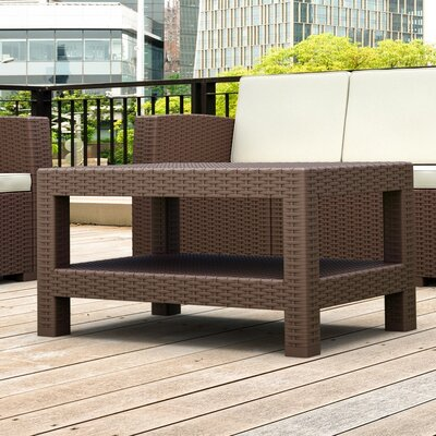 Vedder Rectangle Patio Coffee Table Finish: Brown