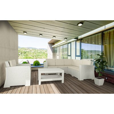 Vedder 4 Piece Sectional Seating Group with Cushions Finish: White