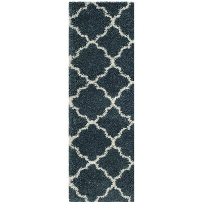 Melvin Modern Shag Blue/Beige Area Rug Rug Size: Runner 23 x 8