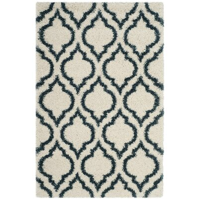 Melvin Shag Beige/Blue Area Rug Rug Size: Rectangle 3 x 5