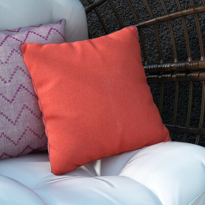 Mowery Outdoor Throw Pillow Size: 16 H x 16 W x 4 D, Color: Poppy