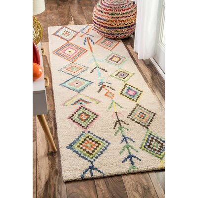 Cotto Marbella Belini Hand-Tufted Ivory/Blue Area Rug Rug Size: Runner 26 x 10