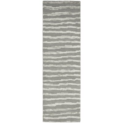 Avonmore Hand-Tufted Wool Gray Area Rug Rug Size: Runner 26 x 12