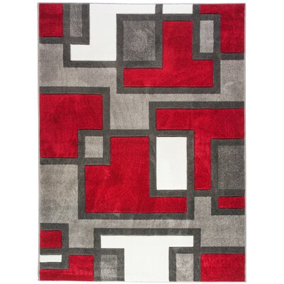 Venegas Imagination Squares Red Area Rug Rug Size: 53 x 73