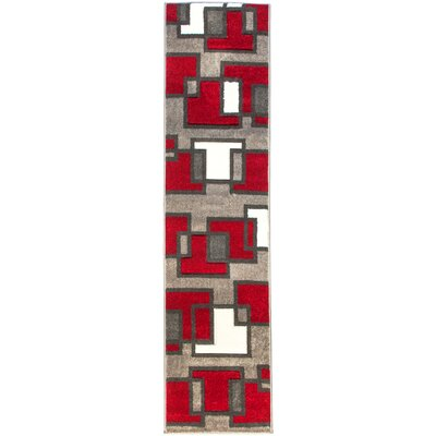 Brigman Imagination Squares Red Area Rug Rug Size: Runner 18 x 7