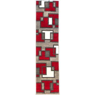 Venegas Imagination Squares Red Area Rug Rug Size: Runner 18 x 7