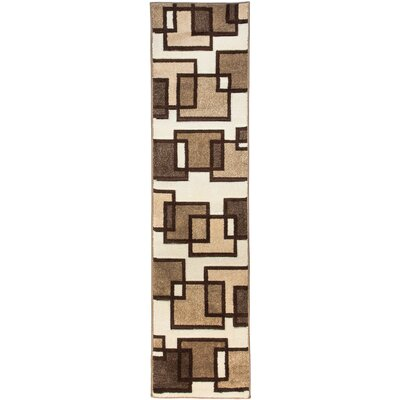 Brigman Imagination Squares Cream Area Rug Rug Size: Runner 18 x 7