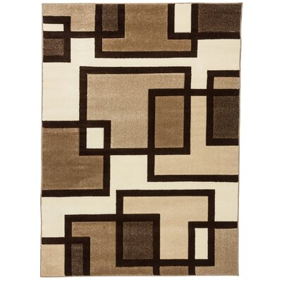 Brigman Imagination Squares Cream Area Rug Rug Size: 92 x 126