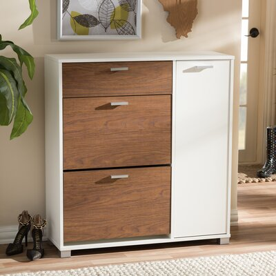 Cade Shoe Storage Cabinet Finish: White & Walnut