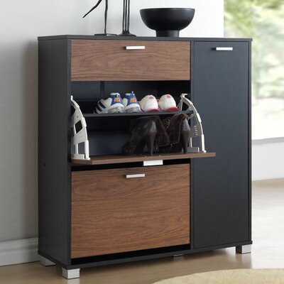Cade Shoe Storage Cabinet Finish: Black & Walnut