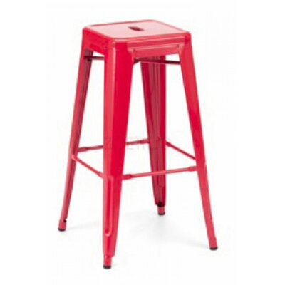 Vogan Adjustable Height Bar Stool Finish: Red