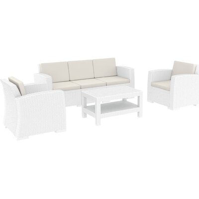 Vedder 4 Piece Resin Patio Sofa Seating Group with Cushion Finish: White