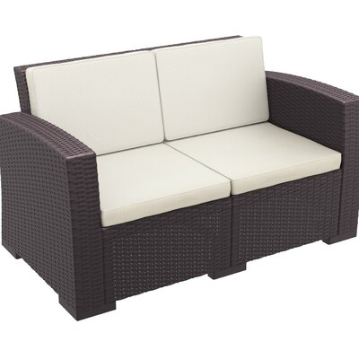 Vedder Resin Patio Loveseat with Cushion Finish: Brown