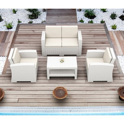 Vedder Resin Patio Loveseat with Cushion Finish: White