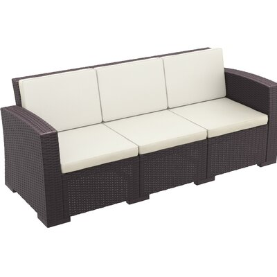 Vedder Resin Patio Sofa with Cushion Finish: Brown