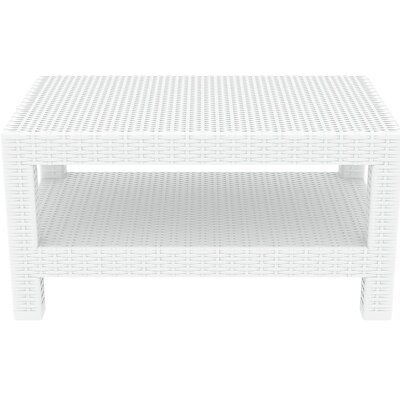 Vedder Rectangle Patio Coffee Table Finish: White