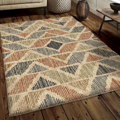Denebola Blue/Beibe/Brown Area Rug Rug Size: 7'1