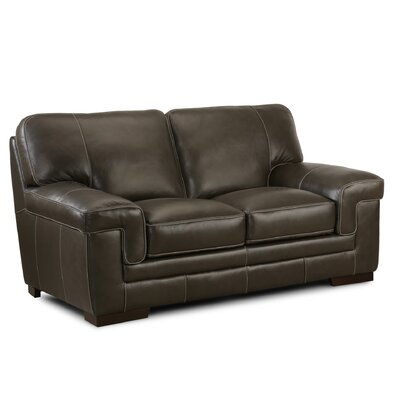 Grand Isle Leather Loveseat Upholstery: Brown