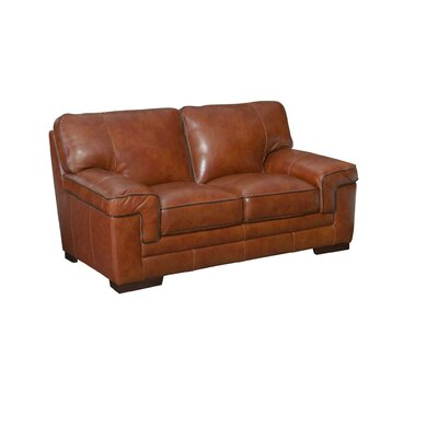 Grand Isle Leather Loveseat Upholstery: Chestnut