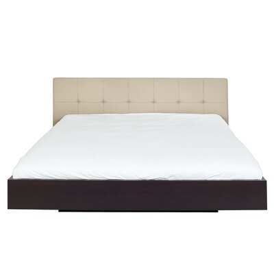 Horsham Upholstered Platform Bed Size: King, Frame Color: Wenge, Headboard Color: White
