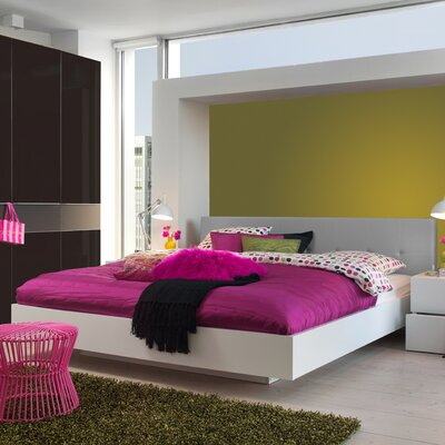 Horsham Upholstered Platform Bed Size: King, Frame Color: Wenge, Headboard Color: Beige