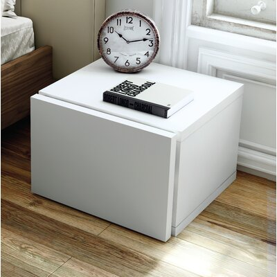 Horsham 1 Drawer Nightstand Color: High Gloss White
