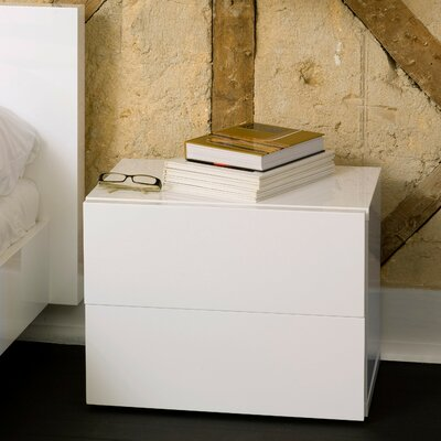 Horologium 2 Drawer Nightstand Color: High Gloss White