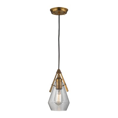 Second Avenue 1-Light Mini Pendant Finish: Antique Gold Leaf