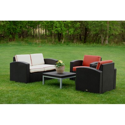 Loggins 4 Piece Deep Seating Group with Cushion