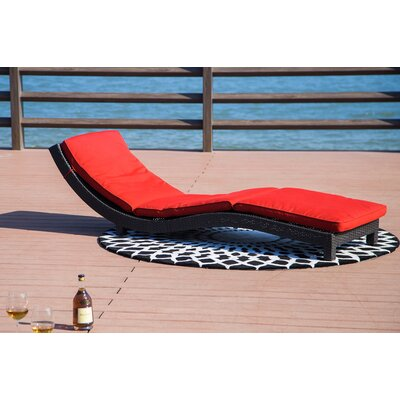 Vanhouten Wicker Chaise Lounge with Cushion Fabric: Red