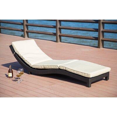 Vanhouten Wicker Chaise Lounge with Cushion Fabric: Beige