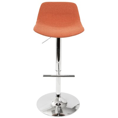 Diona Adjustable Height Swivel Bar Stool with Cushion Upholstery: Orange