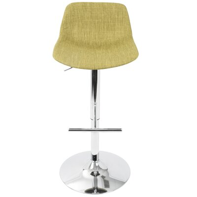 Diona Adjustable Height Swivel Bar Stool Upholstery: Green