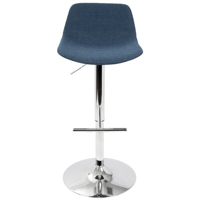Diona Adjustable Height Swivel Bar Stool Upholstery: Blue