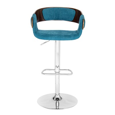 Melton Adjustable Height Swivel Bar Stool Finish: Walnut, Upholstery: Blue Teal
