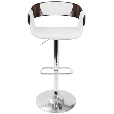 Melton Adjustable Height Swivel Bar Stool Finish: Cherry Wood, Upholstery: White