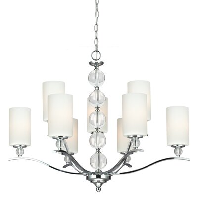 Astoria 9-Light Shaded Chandelier Bulb Type: 100W A19 Medium