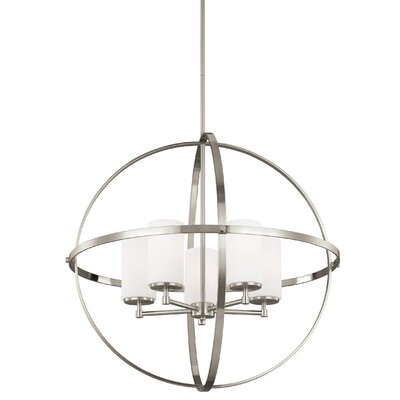 Morningside Drive 5-Light Shaded Chandelier Finish: Brushed Nickel