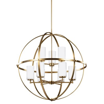 Haworth 9-Light Shaded Chandelier Finish: Satin Bronze