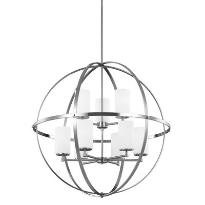 Haworth 9-Light Shaded Chandelier Finish: Brushed Nickel