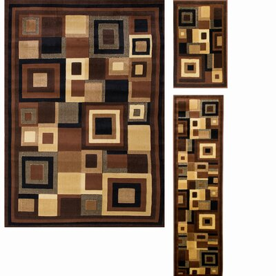 Nova 3 Piece Black/Brown Area Rug Set