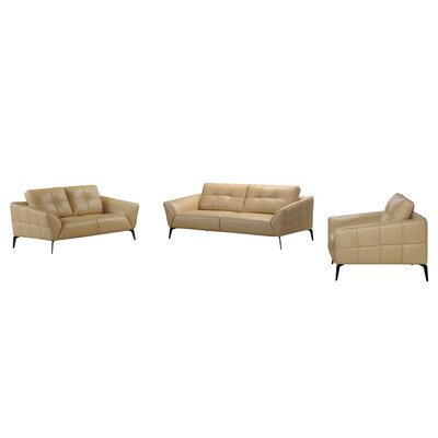 Aaden Forge 3 Piece Leather Sofa Set