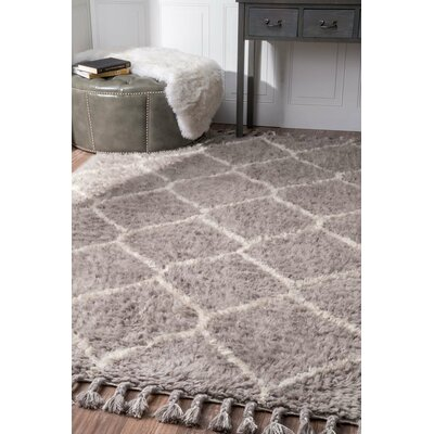 Choi Hand-Tufted Gray Area Rug Rug Size: Rectangle 76 x 96