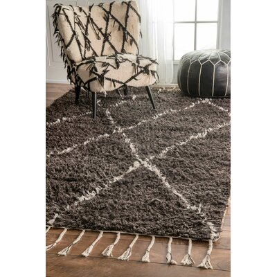 Cissus Hand-Knotted Brown Area Rug Rug Size: 5 x 8