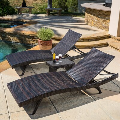 Stowell 3 Piece Chaise Lounge Set Finish: Brown