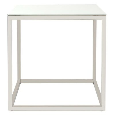 Rossi Square Stainless Steel End Table Finish: White