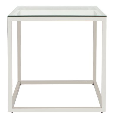 Rossi Square Stainless Steel End Table Color: Clear