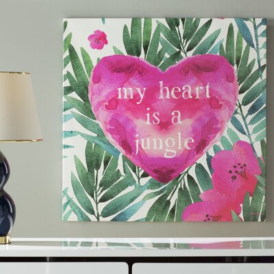 Jungle Heart Painting Print on Wrapped Canvas